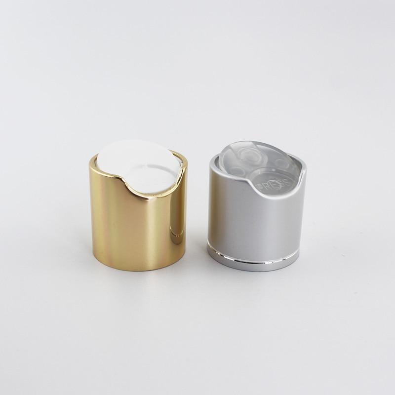 50pcs Gold Disc Top Caps With Aluminum Collar 24/410 Silver Metal Shampoo Bottles Lid Plastic Bottle Cap Push Pull Press Caps
