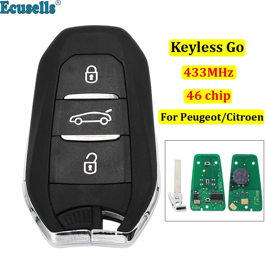 DS الذكية بدون مفتاح الذهاب مفتاح بعيد 3 أزرار 433MHz PCF7945 46 رقاقة لبيجو 308 508 لسيتروين C4 DS4 DS5 مفتاح الطوارئ HU83