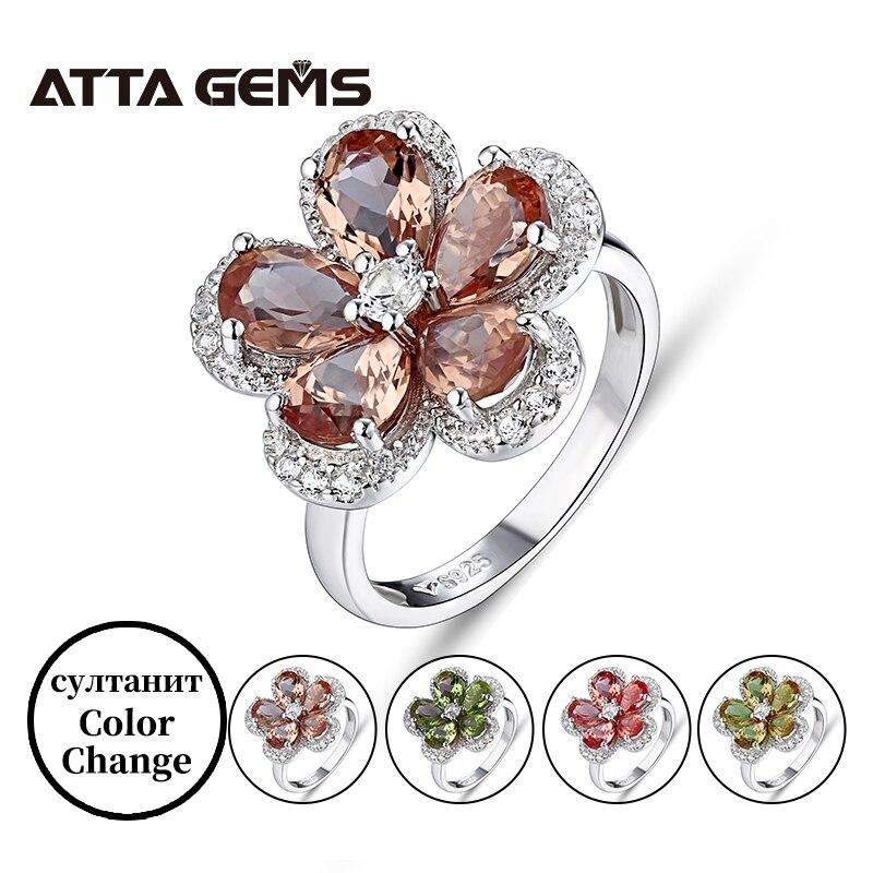 خاتم نسائي من الفضة الإسترليني عيار 925 ، خاتم زولتنيت ، زهرة ملونة ، نمط تركي جميل ، هدية للنساء