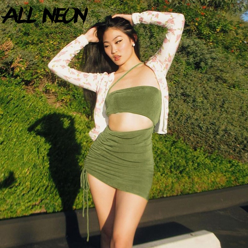 AliExpress - ALLNeon 2000s Aesthetics Drawstring Green Cut Out Dresses Y2K Fashion Hollow Out  Spaghetti Strap Short Dresses Summer 2021 Sexy