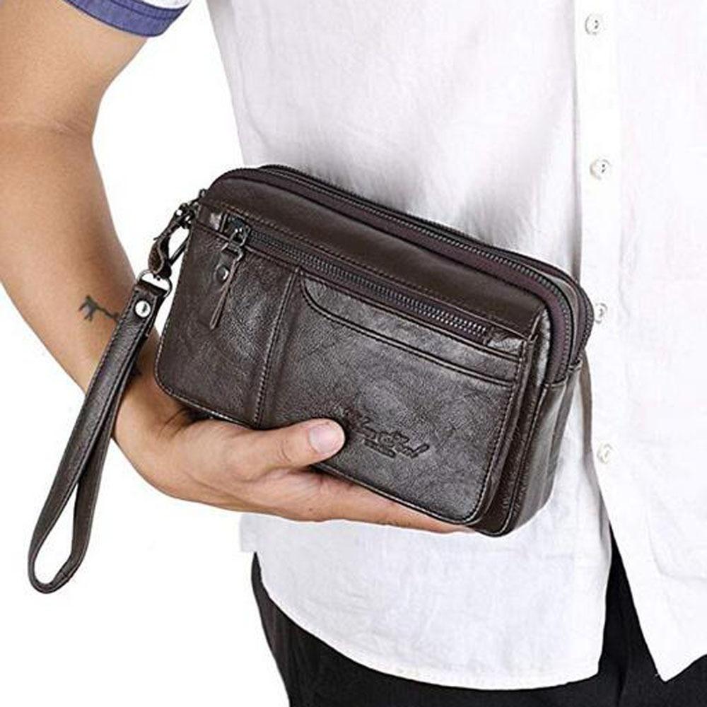 Men Purse Money Bag Business Clutch Wallet Real Leather Wrist Money Bags Genuine Leather Purse Wallets  Bag men s wallet genuine leather clutch male purse for men zip clutch men s genuine leather wallet men portomonee money bag new 9032