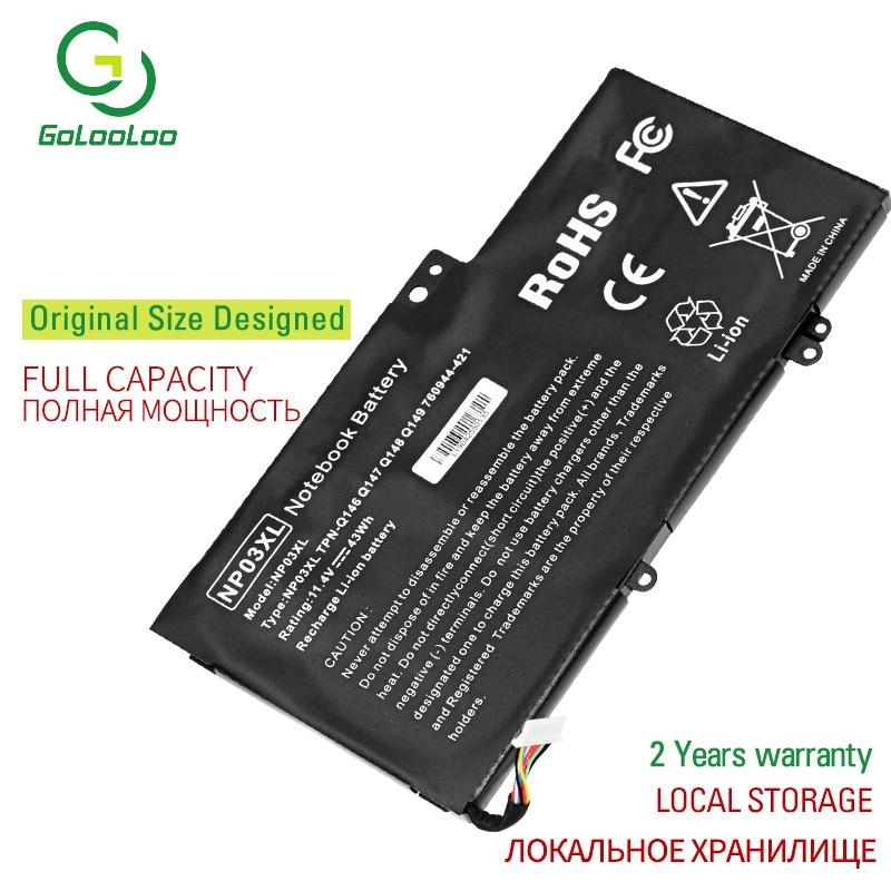 11.4V NP03XL 43WH New Bateria Do Portátil para HP Pavilion X360 13-A010DX TPN-Q146 TPN-Q147 TPN-Q148 HSTNN-LB6L 760944-421 15-U010DX
