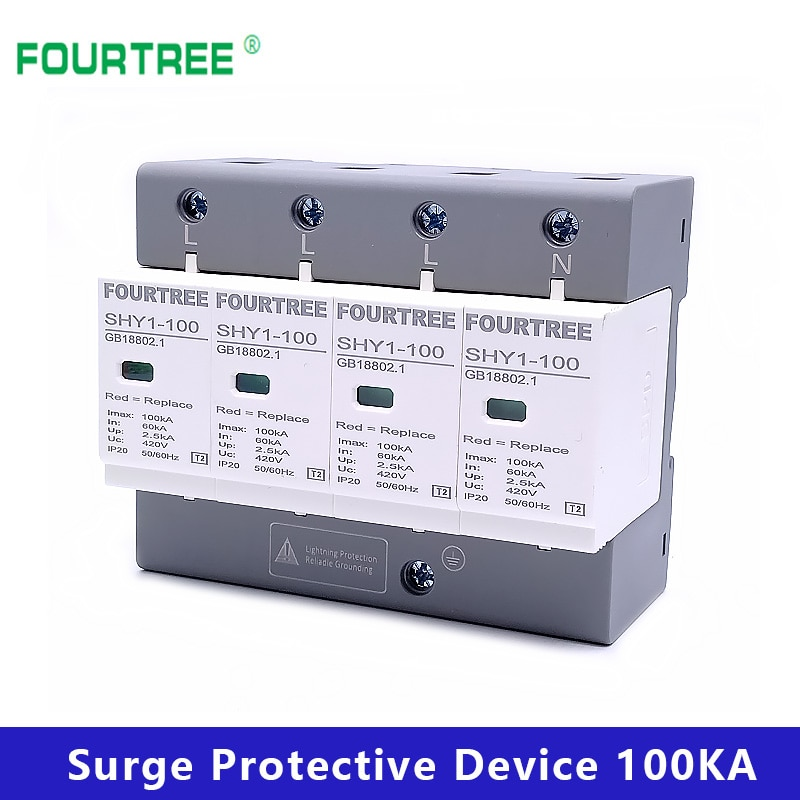 SPD Surge Protective Device AC 3P+N 40~80KA 60KA~100KA 385V 420V House Lightning Protection Arrester Low-Voltage Protector