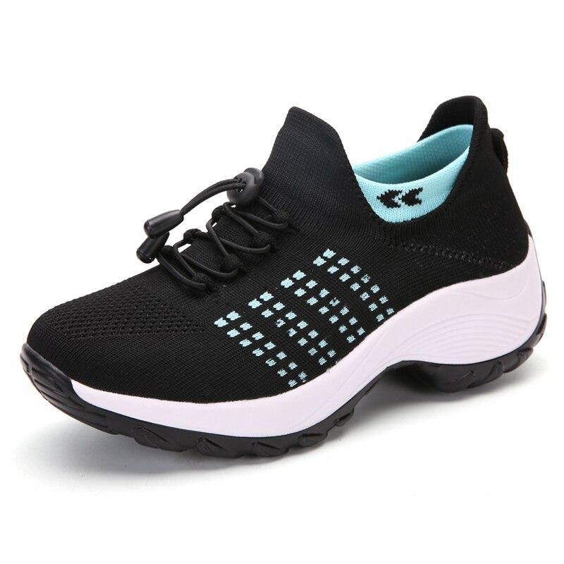 2020 nova altura da cunha aumentando feminino tonificação sapatos de balanço barato sapatos de emagrecimento voar fio deslizamento de ar