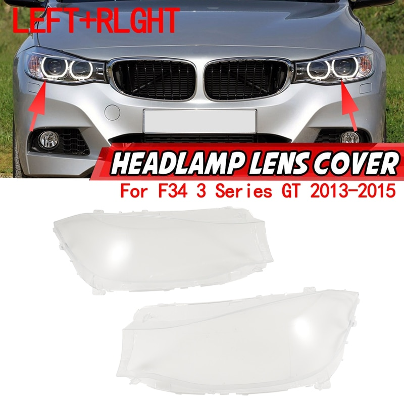 1 زوج ل-BMW F34 3 سلسلة GT 2013-2015 سيارة عدسة المصباح الأمامي غطاء المصباح شفاف عاكس الضوء قذيفة الزجاج اليسار + اليمين