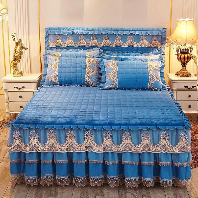 42 سميكة الدافئة الكريستال الصوف اللحف المفرش المجهزة ورقة سادات 2/3 قطعة مزدوجة الطابق الدانتيل التطريز الأميرة الفراش.