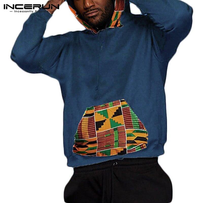 Sudaderas con capucha de manga larga con estampado étnico sudaderas con bolsillos jerséis de hip hop Casual ropa africana para hombres INCERUN 2019 5XL