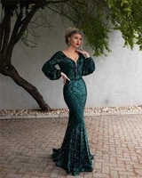 green elegant evening dresses 2020 sequin robe de soiree women formal party night prom gowns mermaid long sleeves evening gowns