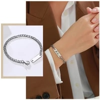 personalized custom engrave id bar bracelets for women never fade stainless steel cuban chain wristband jewelry 21cm