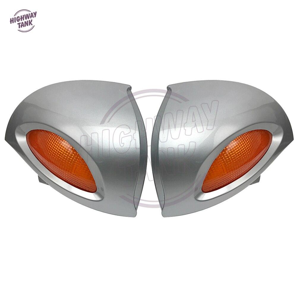 Серебристые мотоциклетные зеркала заднего вида с указателями поворота, освещение, Обложка, чехол для BMW R1100 RT R1100 RTP R1150 RT
