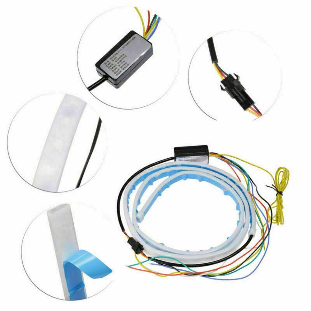 Tronco luz de tira bagagem led bagageira turn signal drl tipo fluxo 4 cor