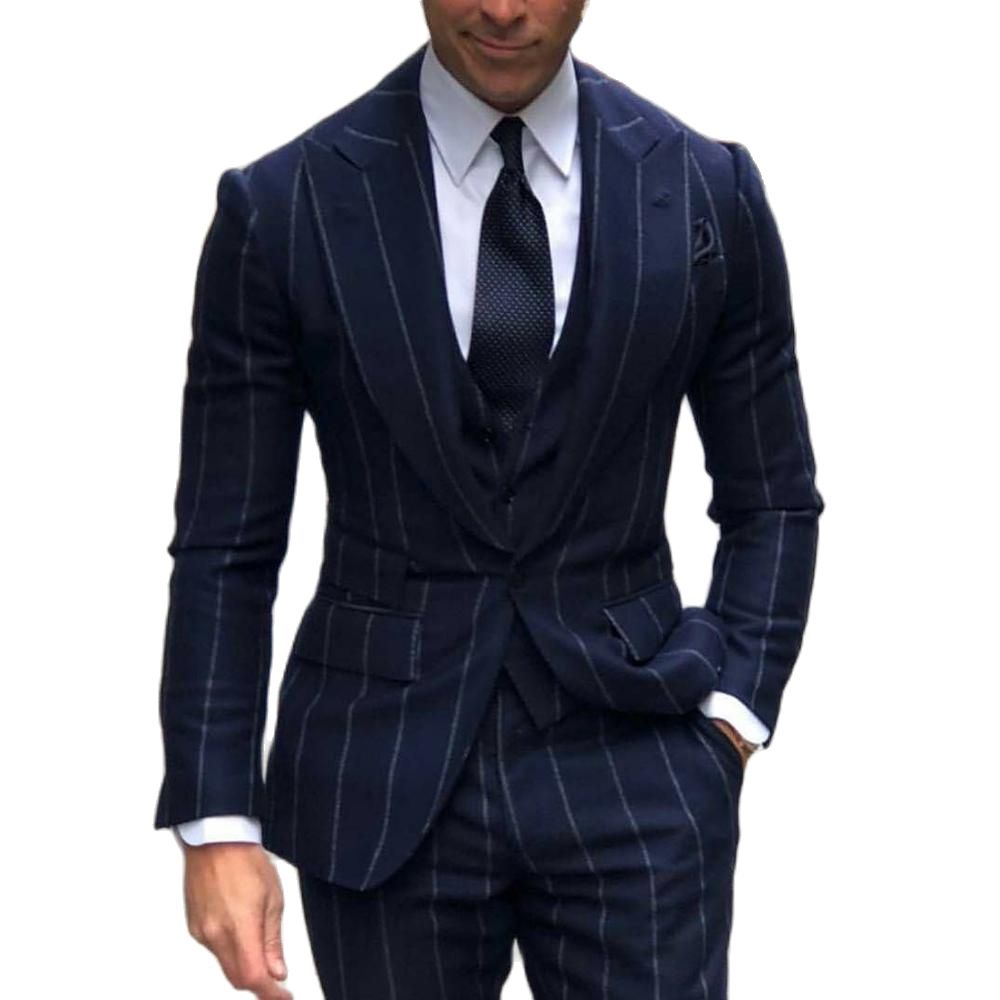 Handsome Male Clothing Business 3 Piece Set Wedding Groom Blazer Custom Made Jacket+Vest+Pants Formal Pinstripe Mens Suits 2021