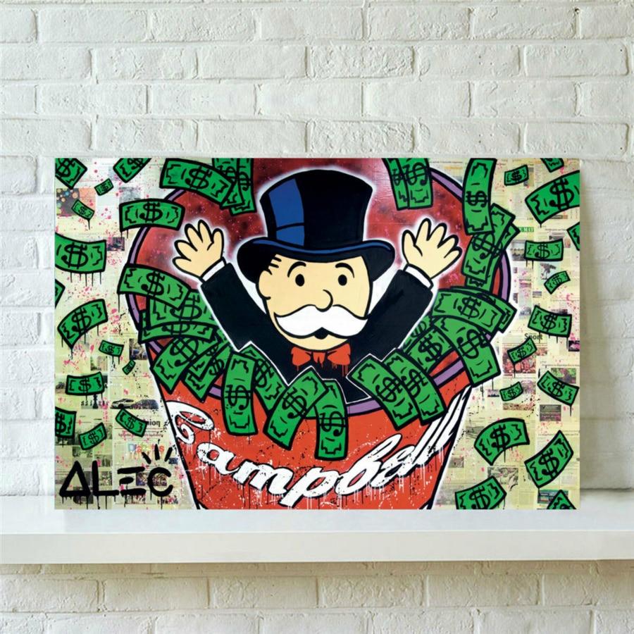 Lienzo estampado pintura de moneda, arte para la pared, pinturas Monopoly leagoo, decoración del hogar dólar en efectivo, módulo de Graffiti, póster para el marco del dormitorio