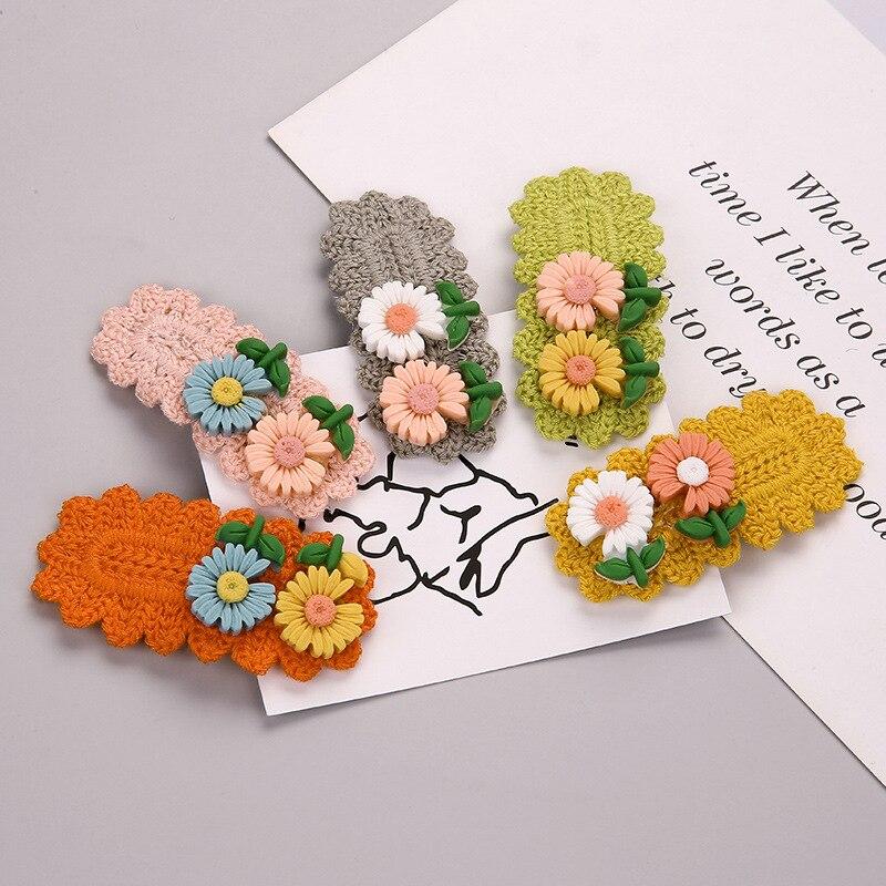 Feiseli marca nueva moda Margarita flor pinzas de pelo para mujer niñas crisantemo hecho a mano Pelo de lana trenzado horquilla regalo