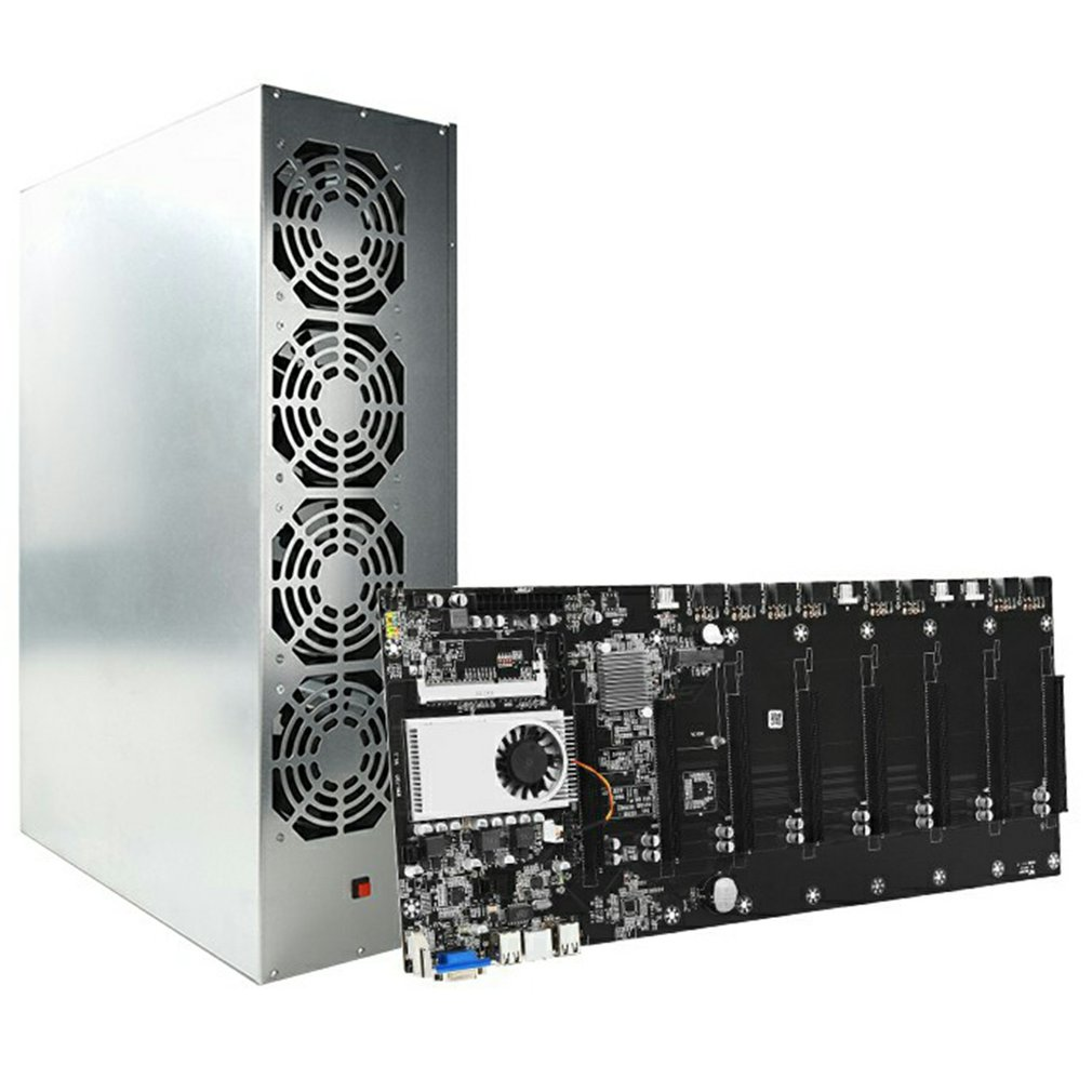 A Set BTC-S37 Mining Miner Chassis With Rig Motherboard 1850W PSU 4/8GB DDR 128GB SSD 4 Cooling Fans For Bitcoin ETC ZEC BTC