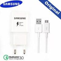 Оригинальное быстрое зарядное устройство J3 Samsung QC 3,0 EU адаптер для путешествий 2A Кабель Micro USB для Galaxy J4 J5 J7 S4 S6 S7 Edge A5 A6 A8 A9