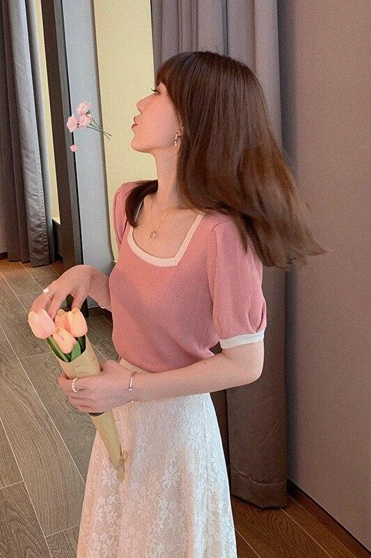 A308-2020 verão novo coreano camisa de fundo curto net vermelho magro emagrecimento cor sólida de manga curta camiseta feminina