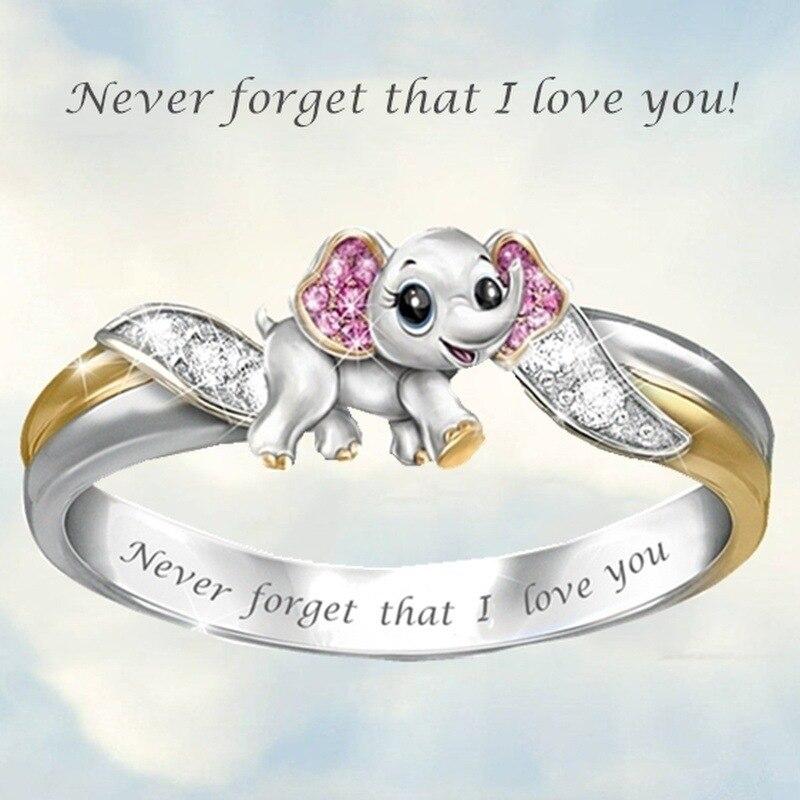 Europa y los Estados Unidos Venta caliente bonito elefante animal anillo con abeja anillo con insecto para mujer nunca olvides que te amo