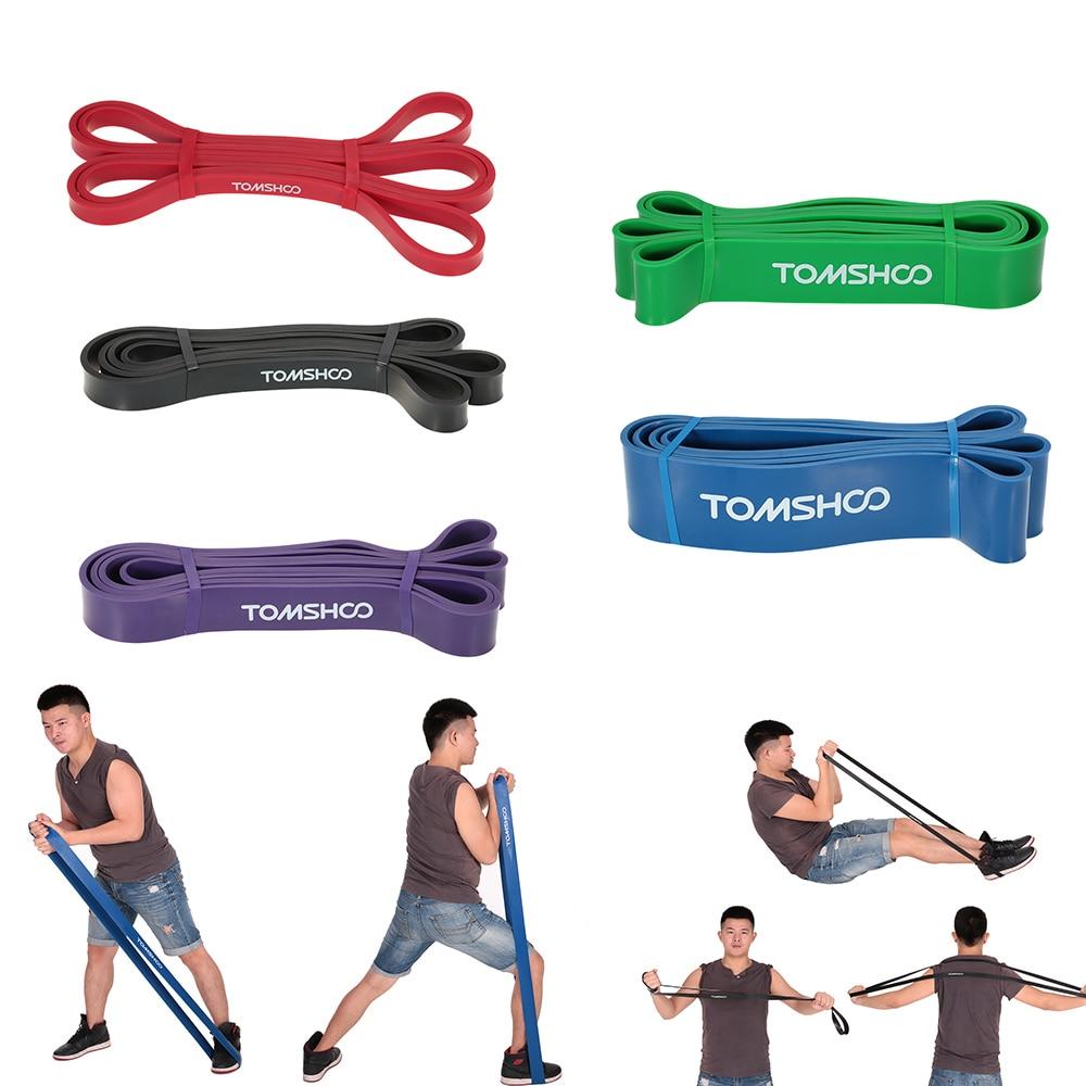 TOMSHOO bandas de resistencia de 208cm equipo de Fitness de ajuste cruzado banda de resistencia de látex Natural banda de tracción lazo Yoga Ejercicio de gimnasio