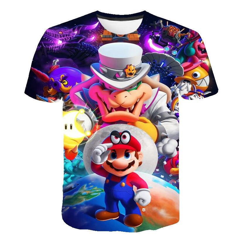 Bonita camiseta de dibujos animados de Super Mario Bros con Luigi para niños y bebés, Camisetas De chico y chica, camisetas casuales de 4 a 14 años