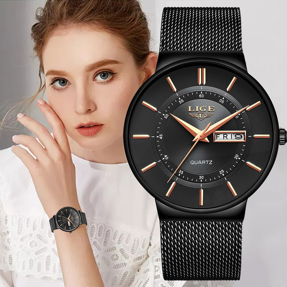 Women Watches LIGE Top Brand Luxury Waterproof Ultra Thin Date Clock Steel Strap Casual Quartz Watch