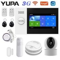 yupa pg107 3g wifi gsm home alarm system tuya smartlife app control ip camera smoke detector smart wireless security alarms kit
