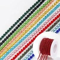 10 yardsroll 11color ss6 ss8 rhinestone chain super quality metal glue on crystal chain diy claw rhinestone wholesale beads