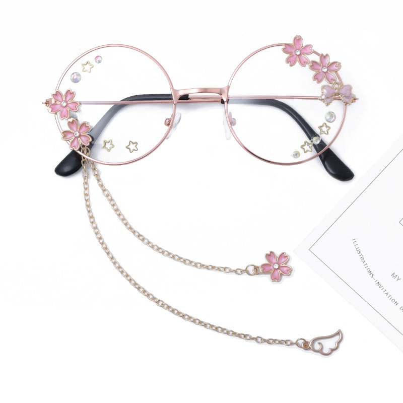 Bonito artesanal asa sakura pingente claro óculos ópticos quadro feminino meninas redondas retro gothic eyewear bowknot vidro oculos gafas