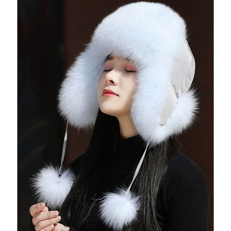 Real Women Fox Fur Hat With earflap Warm Winter Ladies Thick Real Raccoon Fur Hats 2018 New Hot sale