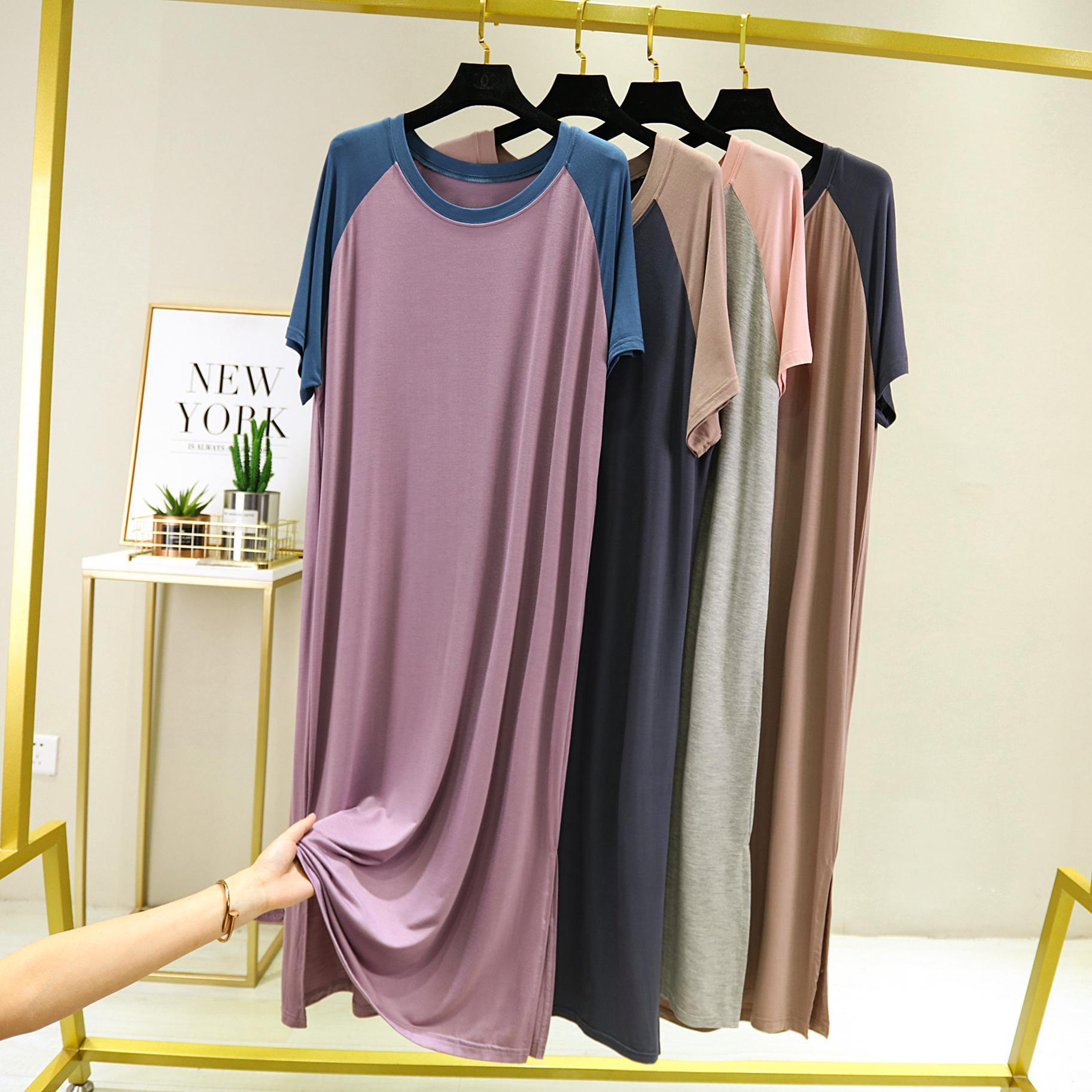 Loungewear longo camisola de verão das mulheres ultra-macio camisola de comprimento total modal sleepwear feminino noite vestido sleepshirts