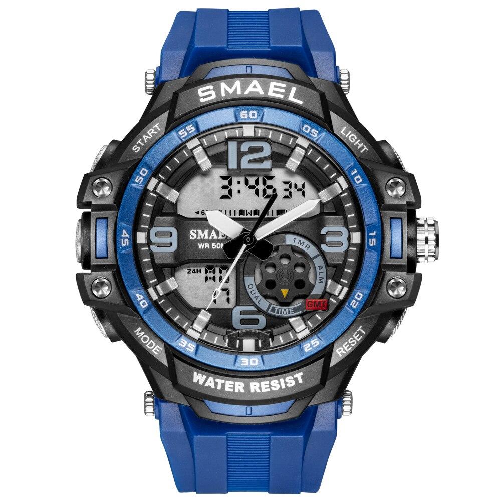 SMAEL Sport Watch Mens Watches Army Green Military Alarm Clock Watchwrist Male Led Shock Digital Quartz Dual Display Watch Men