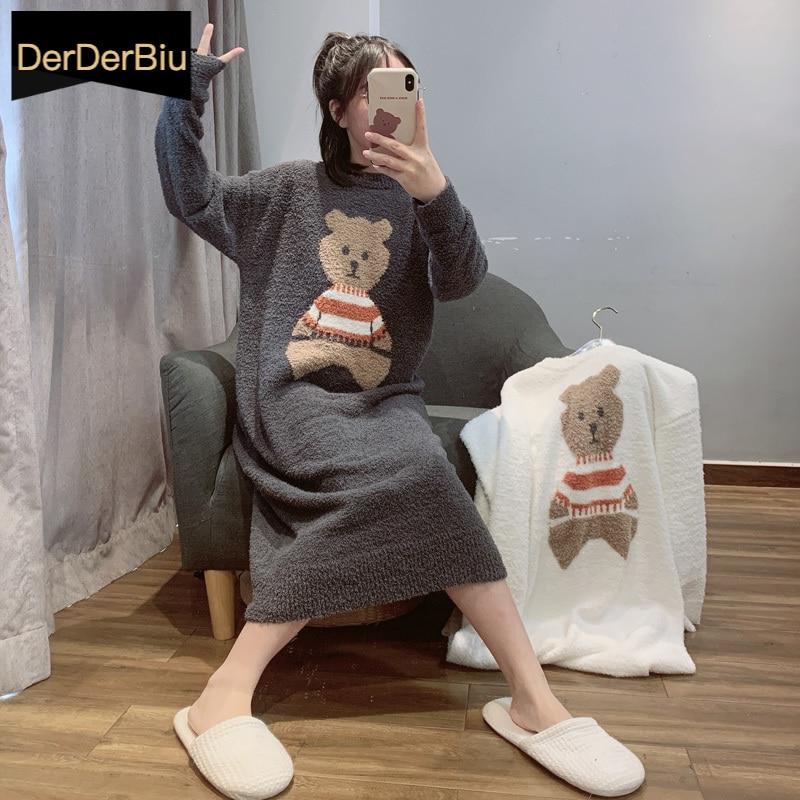 لطيف الدب طباعة ملابس خاصة الشتاء الدافئة ثوب النوم رشاقته المخملية فستان النوم الحلو فتاة طويلة تنورة طويلة الأكمام ثوب النوم المنزل