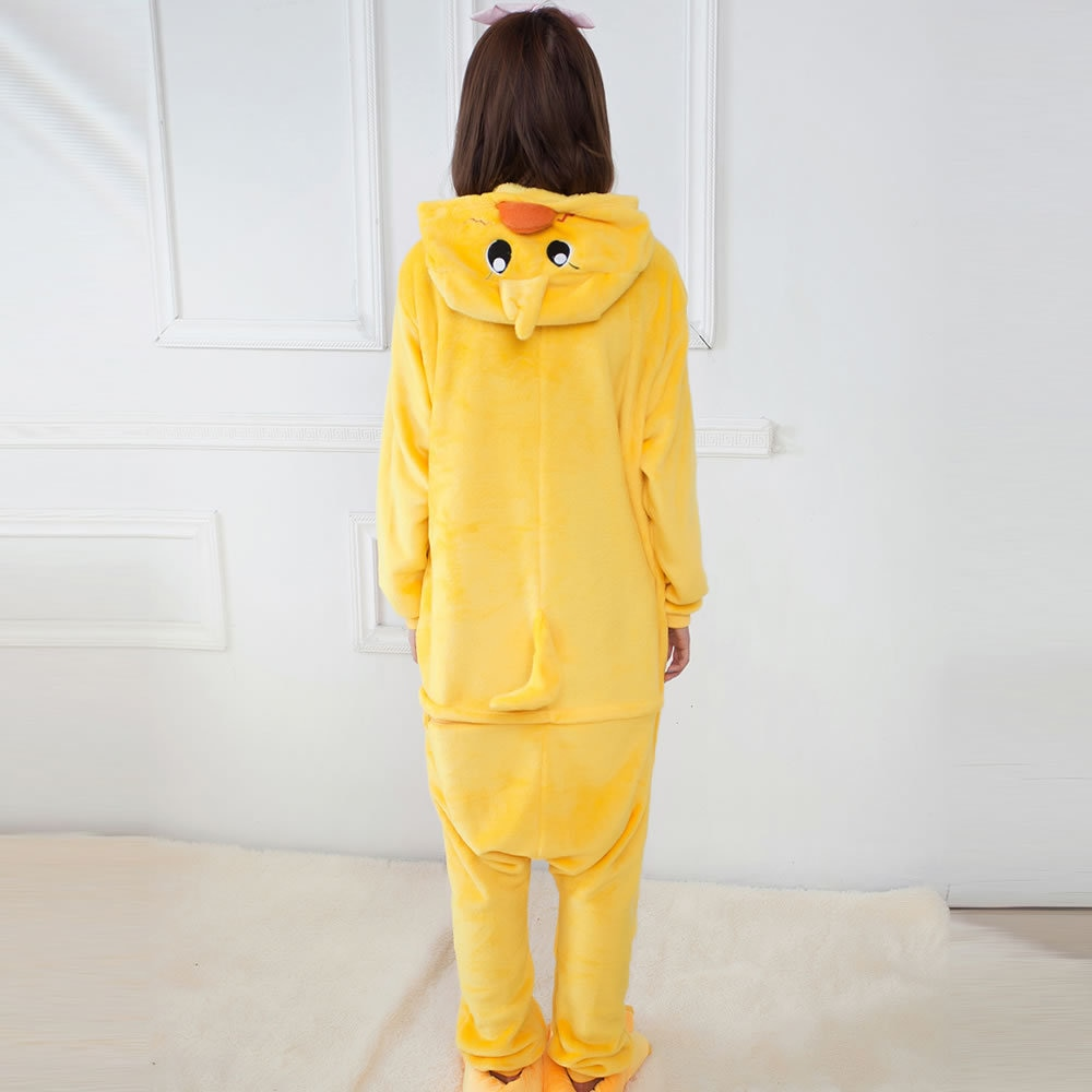Unisex Adultos Pijama Animais Anime Onesie Flanela Pato Amarelo Bonito Dos Desenhos Animados Quente Cosplay Sleepwear
