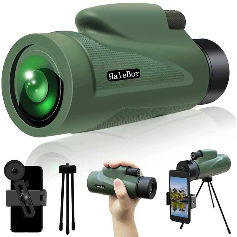 Large Field of View 12X50 Monocular Outdoor Camping Travel Hunting HD FMC Telescope with Tripod Mobi