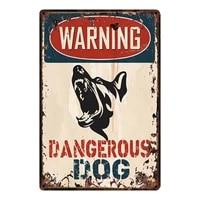 kelly66 warning dangerous dog metal sign tin poster home decor bar wall art painting 2030 cm