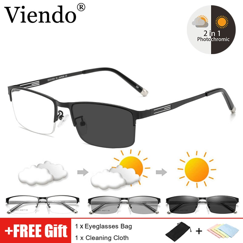 Photochromic Anti Blue Light Blocking Glasses WOmen Men Business Style Half-frame Auto Color Changin