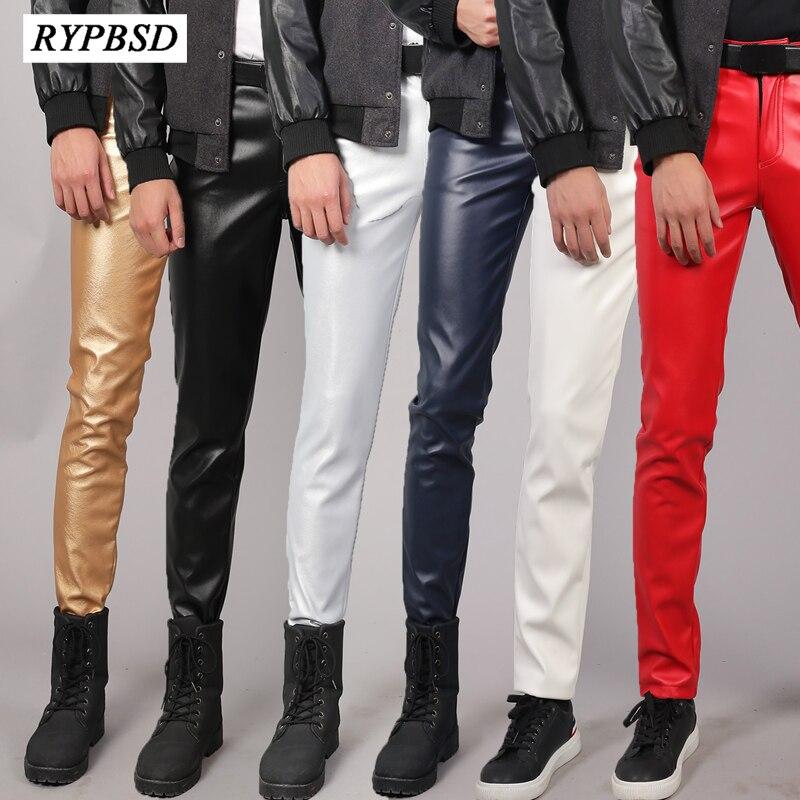Pantalones de cuero para hombre 2020, pantalones de piel de imitación elásticos de alta calidad, ajustados, a la moda, impermeables, de talla grande, con cremallera, ajustados para discoteca