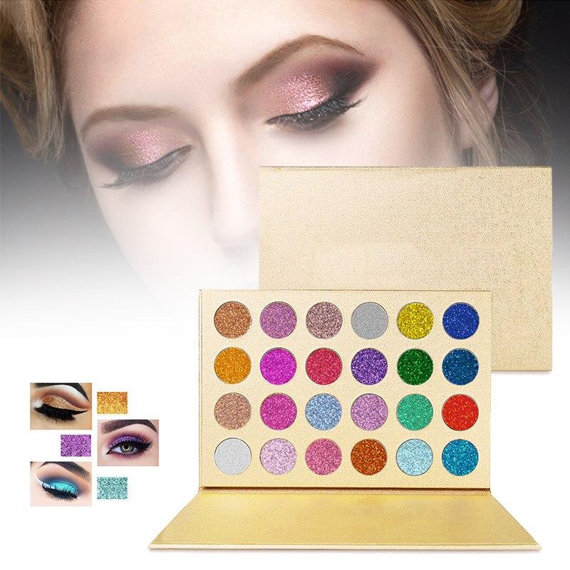 24 colores paleta de sombra de ojos de larga duración brillo, colores brillantes de alta brillante sombra de ojos TY99