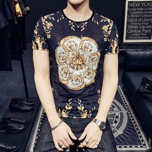 Black Stretch Mesh See Through Mens Printed Tshirts For Mens 2021 Summer Gold Luxury Design For Mens Baroque Shirts Slim Fit Red