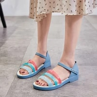 2021 fashion new candy color womens flat sandals summer lightweigh soft rainbow jelly shoes women beach peep toe sandals woman