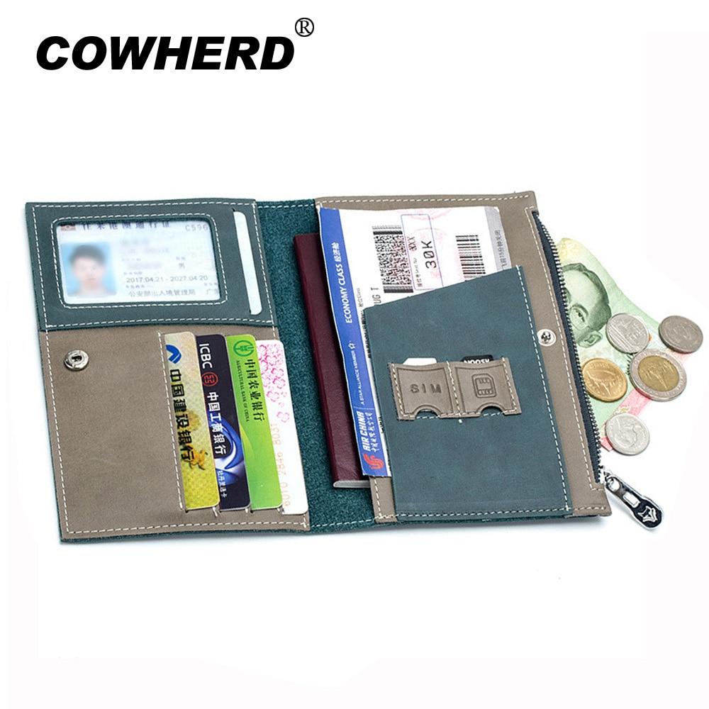 Capa para Passaporte Carteira de Couro Carteira de Motorista Bolsa de Carro Documento de Condução Titular do Cartão de Crédito Case para Homens Split Genuíno