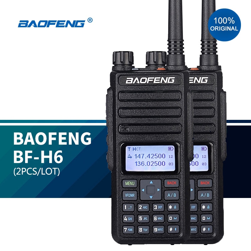 2 PÇS/LOTE BF-H6 Walkie-Talkie 10km 10W Presunto Transceptor Baofeng Dois Sentidos Rádios vhf Transmissor De Alta Potência Dual Band Radio NOVA