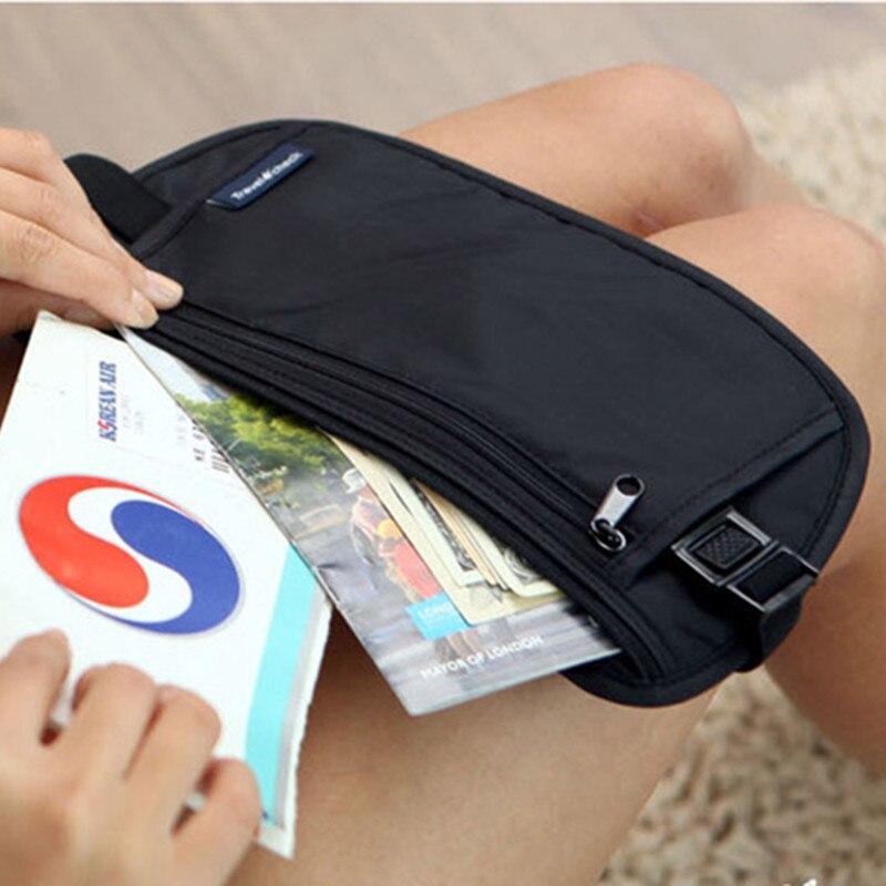 Тканевый чехол для путешествий, скрытый кошелек для паспорта, денег, поясной ремень, тонкая сумка для безопасности, полезный дорожный мешок