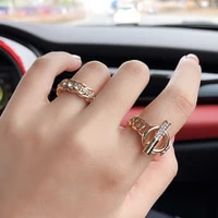 hip hop punk rock ring contracted geometric crystal zircons index finger ring street snap disco dancing women jewelry gifts