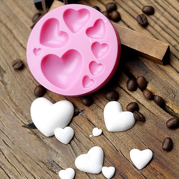 Loving Heart Shape Silicone Fondant Mold DIY Colorful Sweet Heart Chocolate Candy Paste Cake Decorating Tool Mold недорого