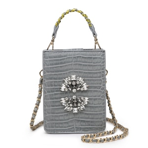 New Arrival Crystal Tote Bag Nice Diamond Crocodile Leather Phone Shoulder Bag Elegant Clutch Pouch for Women