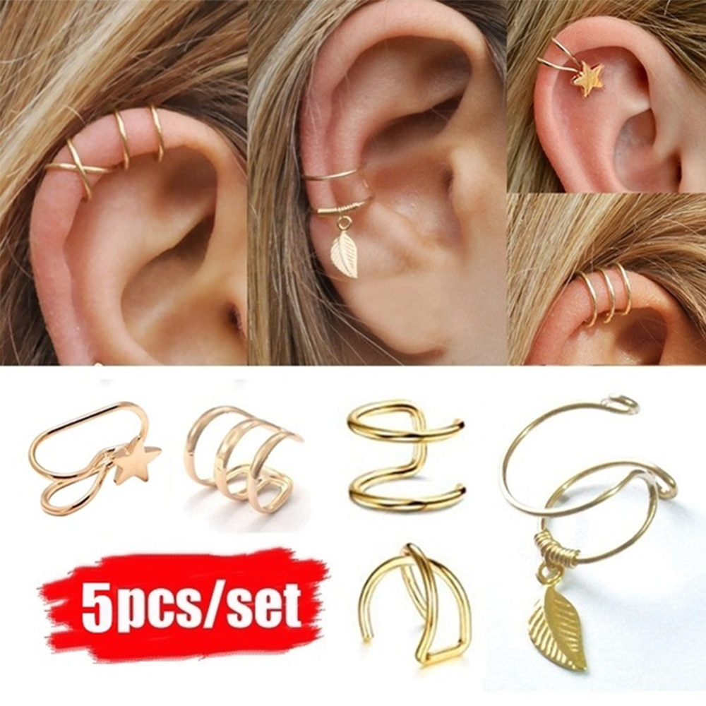 5Pcs/Set Vintage Ear Cuffs Gold Leaf Ear Cuff Clip Earrings for Women Climbers Earcuff No Piercing Fake Cartilage Earring