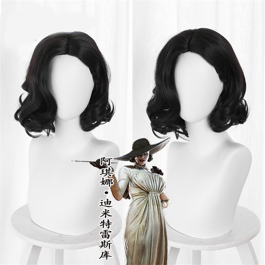 AliExpress - Takerlama Game Evil 8 Lady Dimitrescu Cosplay Woman's Wig Black Short Bob Hair Headgear Halloween Carnival Party Props