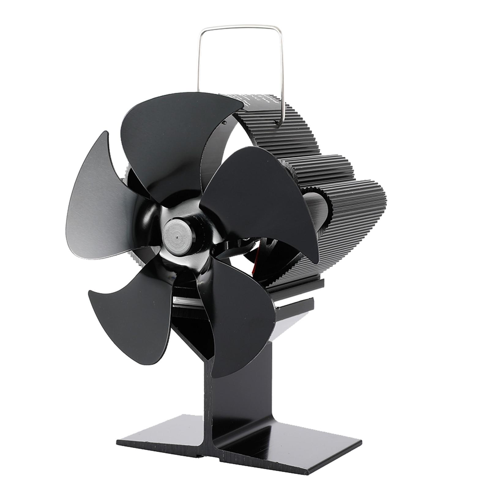 جديد أسود الموقد 5 شفرات تعمل بالطاقة الحرارية موقد مروحة سجل الخشب الموقد Ecofan هادئة المنزل الموقد مروحة كفاءة الحرارة مذهلة