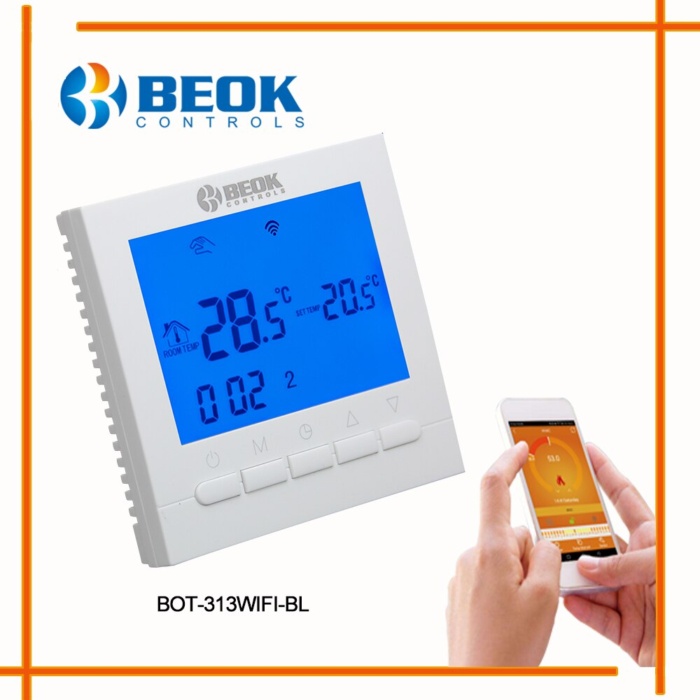 Beok-وحدة تحكم ذكية في درجة الحرارة, وحدة تحكم ذكية في درجة الحرارة واي فاي لجدار الغاز ترموستات التدفئة تحت البلاط شاشة LCD قابلة للبرمجة BOT313WIFI